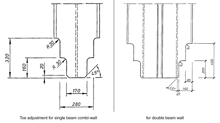 Toe adjustment diagram for single and double beam combined sheet piling walls.